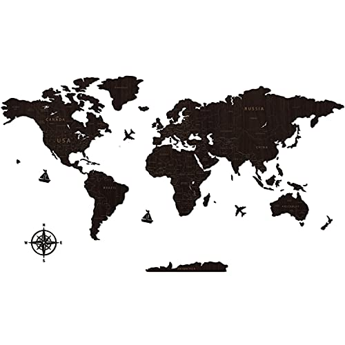 Creawoo Schwarz Weltkarte Wand, handgefertigte Holz Weltkarte Wanddekoration, Wandkunst für Haus & Büro, Holzkarte der Welt, perfekt für kreatives Urlaubsgeschenk - 150 x 85 cm