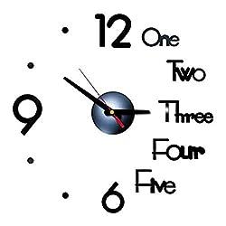 REFAHB 3D DIY Wall Clock Creative Design Mirror Surface Wall Decorative Sticker Watches