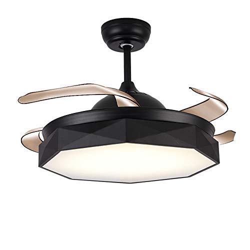 WPCBAA Invisible Ceiling Fan Light Plafondlamp, plafondventilatoren met lampen, stille motor Iron Chandelier 3-licht-modus, restaurant, woonkamer, plafondventilator met licht