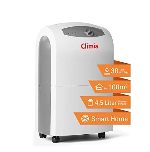 Climia CTK 190 - Luftentfeuchter elektrisch bis 30 Liter pro Tag Entfeuchtung im Keller, Wohnung, Wohnhaus, Garage - Raumgröße bis ca. 235m³