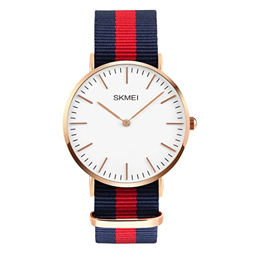 Men's Stainless Steel Classic Quartz Analog Business Wrist Watch with Thin Dial, Replaceable Red/Blue Striped Nylon Band