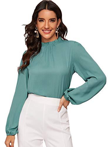 Floerns Women's Long Sleeve Stand Collar Lace Chiffon Blouse Top Green XL