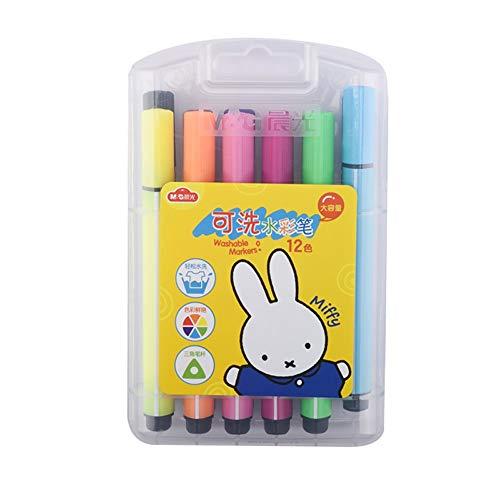 Lihgfw 2 Boxed Aquarell Pen-Set for Kinder Kindergartenkinder mit 24 Farben, 12 Farben, 36 Farben, waschbar Ungiftiger Anstrich-Feder for Anfänger, Handbemalte Großvolumige Baby-