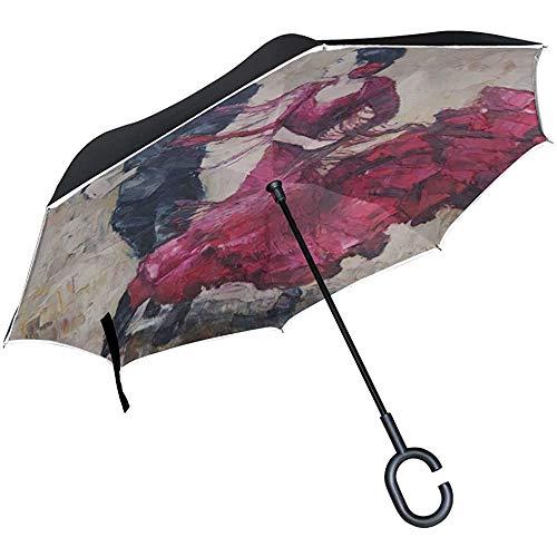 Alice Eva Inverted Umbrella Taschenschirm Stuhl Red Art Tango Tänzer Ölgemälde Umkehrschirm Cute Taschenschirm