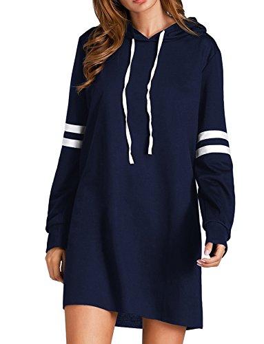 Flying Rabbit Flying Rabbit Damen Hoodie Damen Langarm Sweatshirt Damen Langarm Hoodies Casual Herbst Kleid, Marine, M