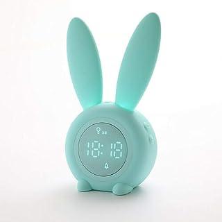 FPRW Moe Rabbit Timing Led Night Light Alarm Clock, Cute Rabbit Smart Digital Clock, Baby Sleep Trainning Small Lamp Clock, Verde