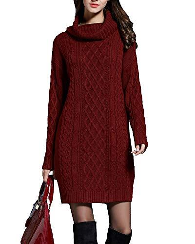 Vestido de Punto para Mujer Suéter Elegante de Cuello Alto de Manga Larga Pull-Over Jersey de Ochos Largo para Otoño Invierno Jersey Ajustado Mujer Rojo clarete L
