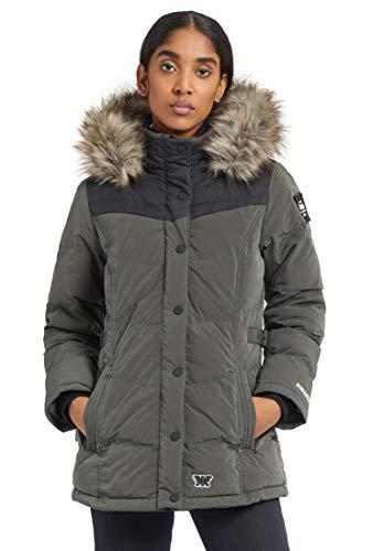 khujo Damen Jacke WINSEN4 mit Abnehmbarer Kapuze und Kunstfellbesatz Winterjacke Steppjacke, peached dark grey, M