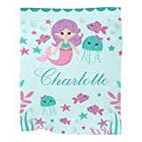 Personalized Mermaid Fish Baby Blanket with Name for Girls Boys Custom Nursery Kids Blankets for Baby Shower Birthday Gifts Customized Baby Throw Soft Fleece 30 x 40 inch