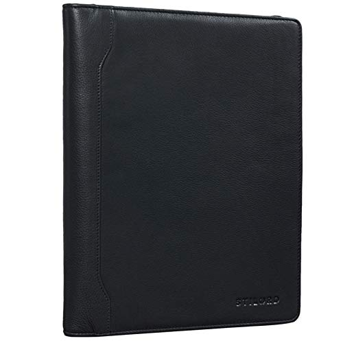 STILORD 'Arvid' Vintage Conference Folder Leather Business Map A4 Punched Pad Portfolio Document Folder for 13,3 MacBooks, Colour:Black