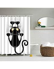 Douchegordijnen, douchegordijn van polyester, textiel badgordijn, zwarte kat bedrukt, anti-schimmel, waterdicht, badkamergordijn met 12 douchegordijnen en haken, 180x200 cm
