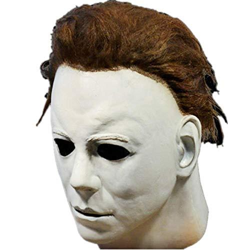 Michael Myers Máscara Halloween Cosplay Horror Máscara completa Personaje de la película de terror Disfraz de Cosplay para adulto, Carnaval y Disfraz de Halloween para adulto