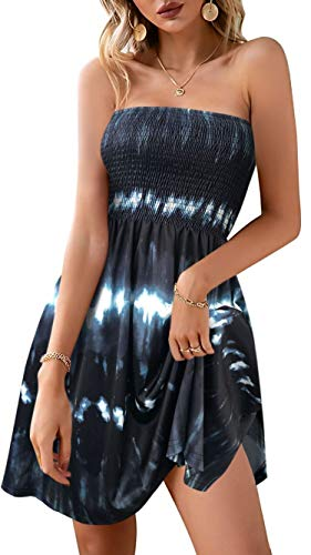 Women's Summer Casual Dresses Beach Strapless Tie Dyed Print Tube Swing Sundress (Tiedyed Black,M)