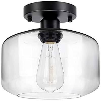 Industrial Semi Flush Mount Ceiling Light with Clear Glass Pendant Lamp Shade, Farmhouse Ceiling Lighting Fixture for Hallway Entryway Porch Kitchen Island Corridor Bedroom Bar, Bulb Not Included