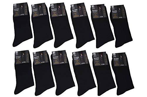 Karl Loven - Lote de 12 pares de calcetines con puntadas en hilo de Escocia (100% algodón, talla39-42, 43-46, 47-49), Pack 12 Noires, 43-46