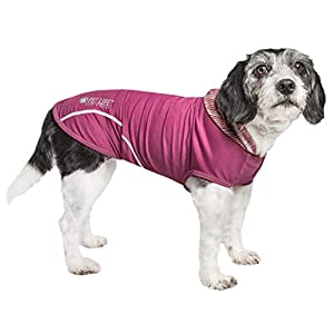 Pet Life Active 'Pull-Rover' Premium 4-Way Stretch Two-Toned Performance Sleeveless Dog T-Shirt Tank Top Hoodie, Medium, Maroon