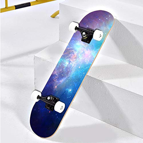 VByge Allrad Skateboard Anfänger Erwachsener Penny Board Jungen Und Mädchen Jugendprofi Doppel Longboard 80x20cm Sternenklarer Himmel