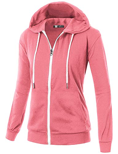 GIVON Womens Comfortable Long Sleeve Lightweight Zip-up Hoodie with Kanga Pocket/DCF200-PINK-S