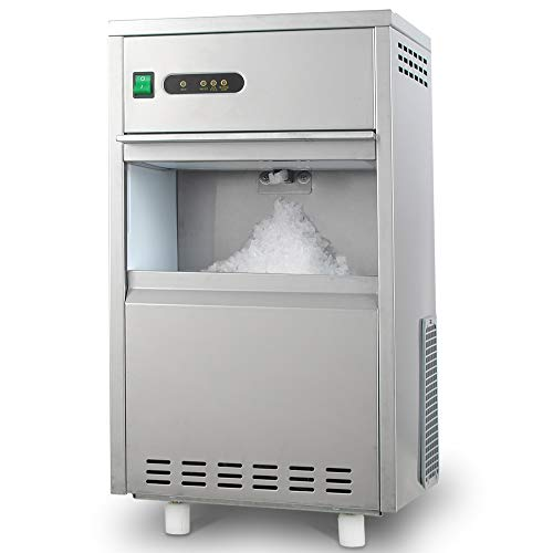 HTH   44LB/24H Snowflake Crushed Ice Maker Commercial Ice Machine Countertop Stainless Steel Ice Maker Machine Freestand Crusher for Seafood Restaurant Bar Party Coffee Shop Home Use