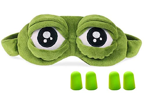 Hemuu 1 STÜCK Schlafmasken/Sleep Masks mit 2 Sätzen Ohrstöpsel,lustige kreative Augenmaske Nachtmaske,weiche 3D Reiseschlafmaske mit Gummiband, Frosch Maske Schlafen Reisen für Kinder und Erwachsene