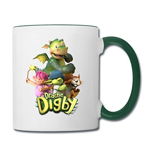 Drache Digby Und Seine Freunde Gruppenpose Tasse zweifarbig, Weiß/Dunkelgrün