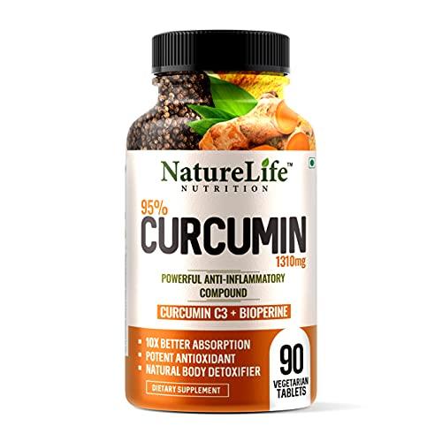 Nature life Nutrition Curcumin with Bioperine Tablets 1310mg  90 Veg Tablets  Turmeric, Piperine 