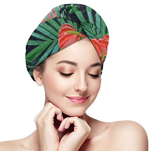 XBFHG Enveloppes De Serviette De Cheveux en Microfibre pour Les FemmesCapuchon De Cheveux Secs Rapides avec Bouton - Fleurs Tropicales Et Feuilles De Palmier Floral Exotique Hawaiian Blooming Jungle