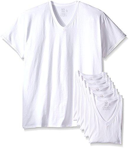 """Fruit of the Loom Men's Tucked V-Neck T-Shirt (White, X-Large / 46"""" - 48"""" Chest)"""