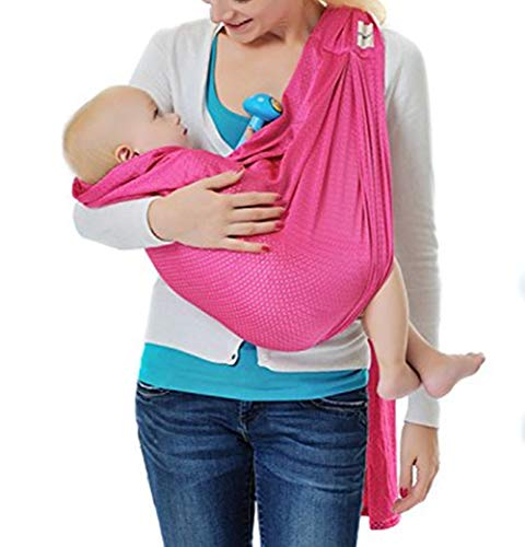 Ring Sling Baby Wrap Carrier for Newborn and Toddler, Lightweight Breathable Mesh Baby Wrap, Summer, Swimming, Pool, Beach (Pink)