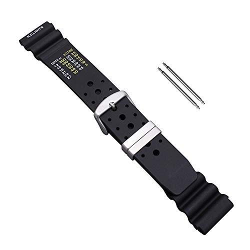 Uhrbanddealer Unisex Uhrenarmband Taucher-PU Kunststoffband 20mm schwarz ND Limits Typ Set 10520
