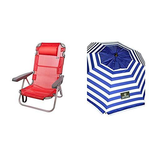 Aktive 53971 - Silla Plegable multiposición Aluminio 60 x 108 x 78 cm - Rojo + Crevicosta Crevi 8888 Sombrilla, Azul Marinero