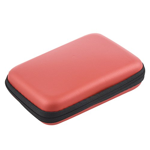 bobotron Caja de disco duro portátil a prueba de golpes, cierre de cremallera, funda para disco duro de 2,5 pulgadas, color rojo