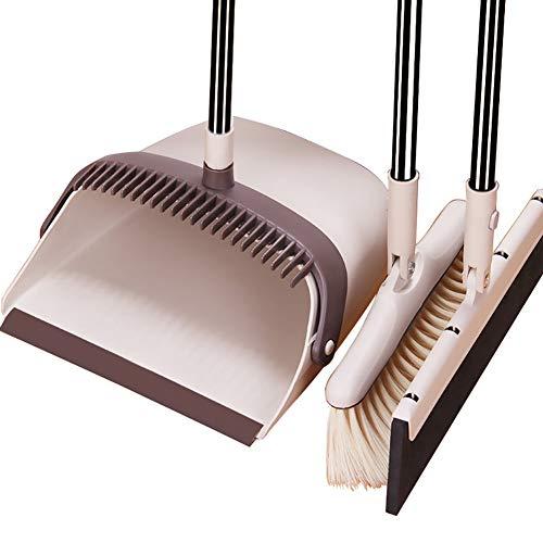 Queta Besen- und Kehrschaufel-Set, 3-teilig, staubdicht, Scheiben- und Besenwischer-Kombination, einziehbarer Griff für Zuhause, Küche, Büro, Lobby, Boden