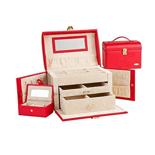 Jcuero Cajas para Joyas Hebilla de Metal Multi-Capa de Capacidad Grande con Collar Perchas Organizador Caja de joyería Anillos Relojes (Color : Red, tamaño : 8.46 * 7.28 * 10.23in)