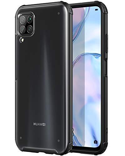 YATWIN Handyhülle Kompatibel mit Huawei P40 Lite Hülle, Matt Durchscheinend Anti Fingerabdruck, 4 Ecken Anti-Fall Hülle, Kratzfest rutschfest Schutzhülle für Huawei P40 Lite Hülle (Schwarz)