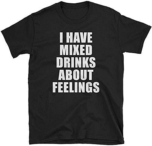 Volly Ik heb Gemengde Dranken Over Gevoelens Grappige Alcohol Liefhebber Mannen Vrouw Unisex 100% Katoen Humor Grafische O-Hals Comfortabele Tee Mode Korte Mouw Sport T-Shirt