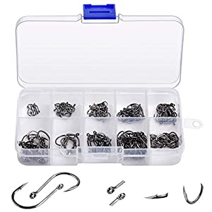 200PCS High Carbon Steel Fish Hook, 10 Sizes (3#-12#) ZJX Carbon Steel Fish Hook, Portable Plastic Box Fish Hook, Strong and Sharp Fish Hook with Freshwater/Seawater Barb.