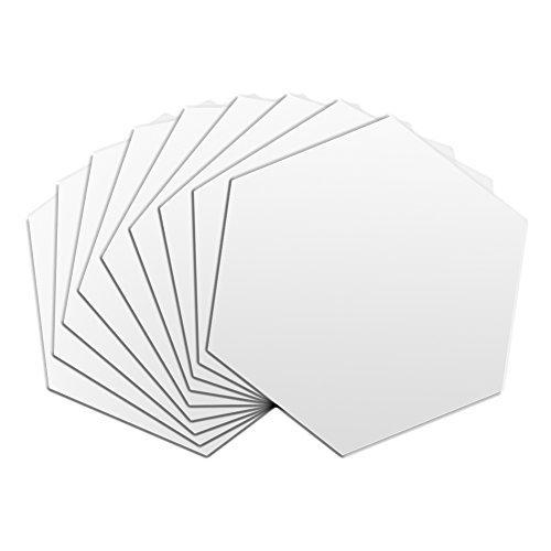 【12枚入り】6角形 鏡シール ミラーシート 割れない鏡 安全フィルム インテリア鏡貼 ホームデコレーション 粘着剤付き シルバー 80*70*40mmの写真