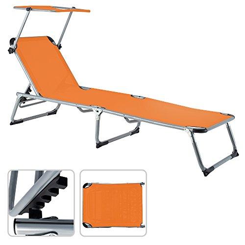 Deuba Chaise Longue avec Pare Soleil Pliante Aluminium Transat Pliable Parasol Orange 190x67 cm