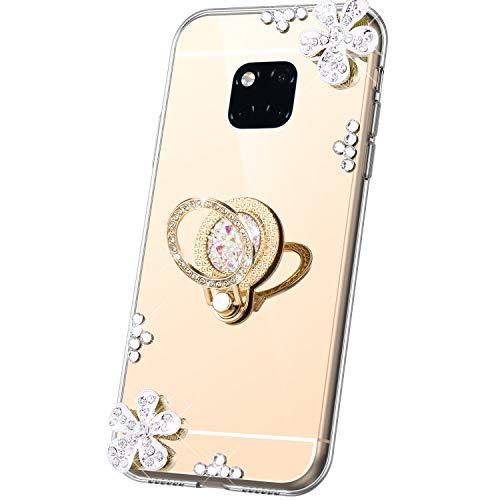 JAWSEU Compatible avec Coque Huawei Mate 20 Pro Miroir Paillette Glitter Strass Fleur Silicone Gel TPU Etui Housse de Protection avec Diamant Support de Bague Antichoc Bumper Case,Or
