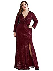 Burgundy Long Sleeve Plus Size Sequin Gowns with  Side Split 0824