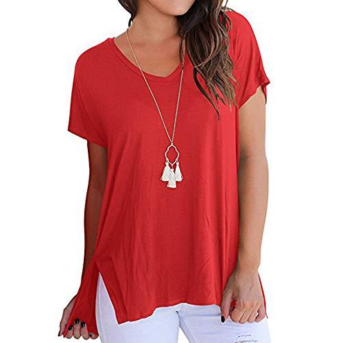 Camiseta De Primavera Y Verano para Mujer Cuello De Pico Dividido Manga Corta Suelta Frente Corto AtráS Parte Superior De Costura Lateral Larga