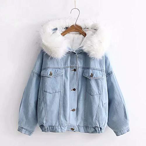 CXD Warm winter jas denim jas, jeans jas met capuchon jas met rits, dames warme verdikking winter jas pluche jas korte bovenkleding vrouwen sweatjack Vrouwen Sweat Parka