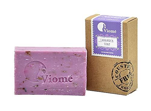 Viomé   Lavendel Seife, 100% natürlich, ohne Palmöl, vegan, handgefertigte Seife, traditionell gefertigt   125g