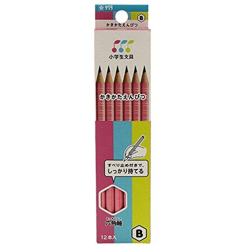 サクラクレパス かきかた鉛筆 小学生文具 B 六角 G6エンピツB#20 ピンク 12本