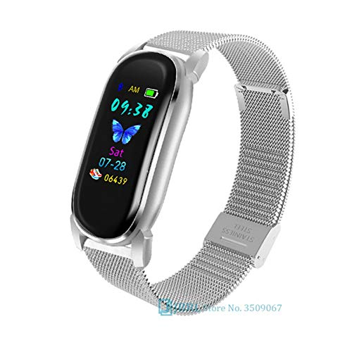 YDL Smart Watch Hombres Mujeres SmartWatch Electronics Smart Relk para Android iOS Fitness Tracker Nice Bluetooth Smart-Watch (Color : Steel Silver)