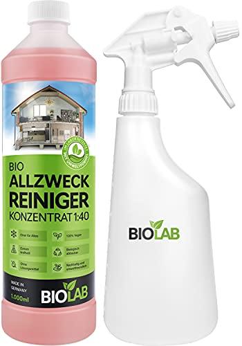 BIOLAB Limpiador multiusos concentrado, 1000 ml, incluye botella de spray para mezclar, concentrado