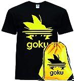 Giano Srl Goku - Camiseta para adultos y niños con bolsa de gimnasio, mochila con cordón, diseño de Dragon Master Ball Vegeta Turtle Roshi