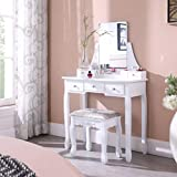 Salbay Tocador moderno blanco con espejo sin marco, 5 cajones, organizador extraíble, taburete de madera de pino, para dormitorio, vestidor