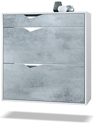Zapatero Kolmio 85 x 87 x 33 cm, Cuerpo en Blanco Mate, frentes en Hormigón Oxidado   Amplia selección de Colores